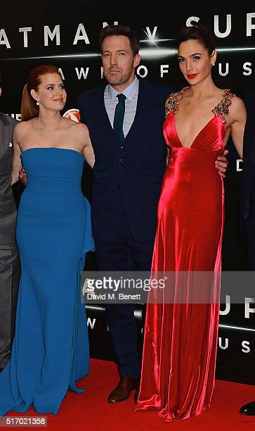 Amy Adams Ben Affleck and Gal Gadot attend the European Premiere of 'Batman V Superman Dawn Of Justice' at Odeon Leicester Square on March 22 2016 in...