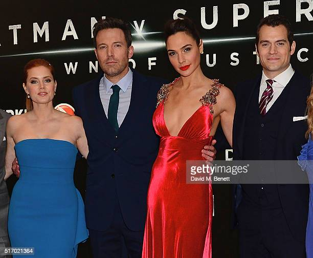 Amy Adams Ben Affleck Gal Gadot and Henry Cavill attend the European Premiere of 'Batman V Superman Dawn Of Justice' at Odeon Leicester Square on...