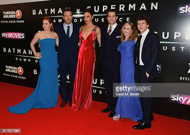 Amy Adams Ben Affleck Gal Gadot Henry Cavill Holly Hunter and Jesse Eisenberg attend the European Premiere of 'Batman V Superman Dawn Of Justice' at...