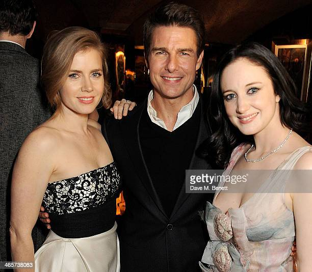 Amy Adams Tom Cruise and Andrea Riseborough attend the Charles Finch and Chanel PreBAFTA cocktail party and dinner at Annabel's on February 8 2013 in...