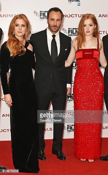 Amy Adams Tom Ford and Ellie Bamber attend the 'Nocturnal Animals' Headline Gala screening during the 60th BFI London Film Festival at Odeon...