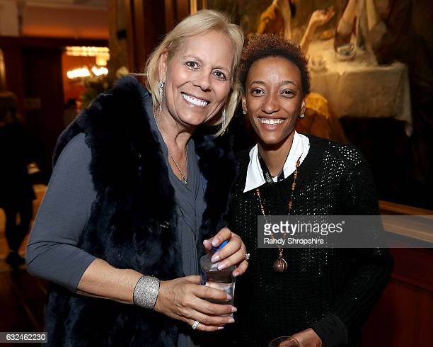 Amy Baker and Justice Singleton attend Google Home x Sundance x Wanderluxxe celebrate diversity at the home of Barry Amy Baker on January 22 2017 in...