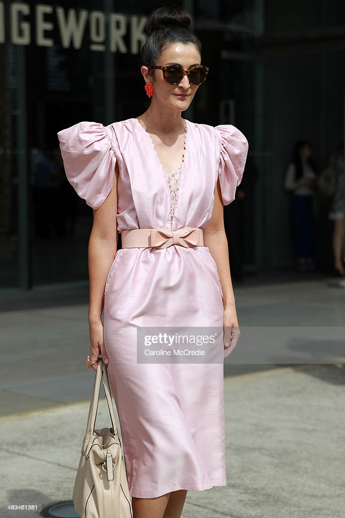 Amy Bores wearing a 1960's vintage dress at Mercedes-Benz Fashion Week Australia 2014 at Carriageworks on April 9, 2014 in Sydney, Australia.