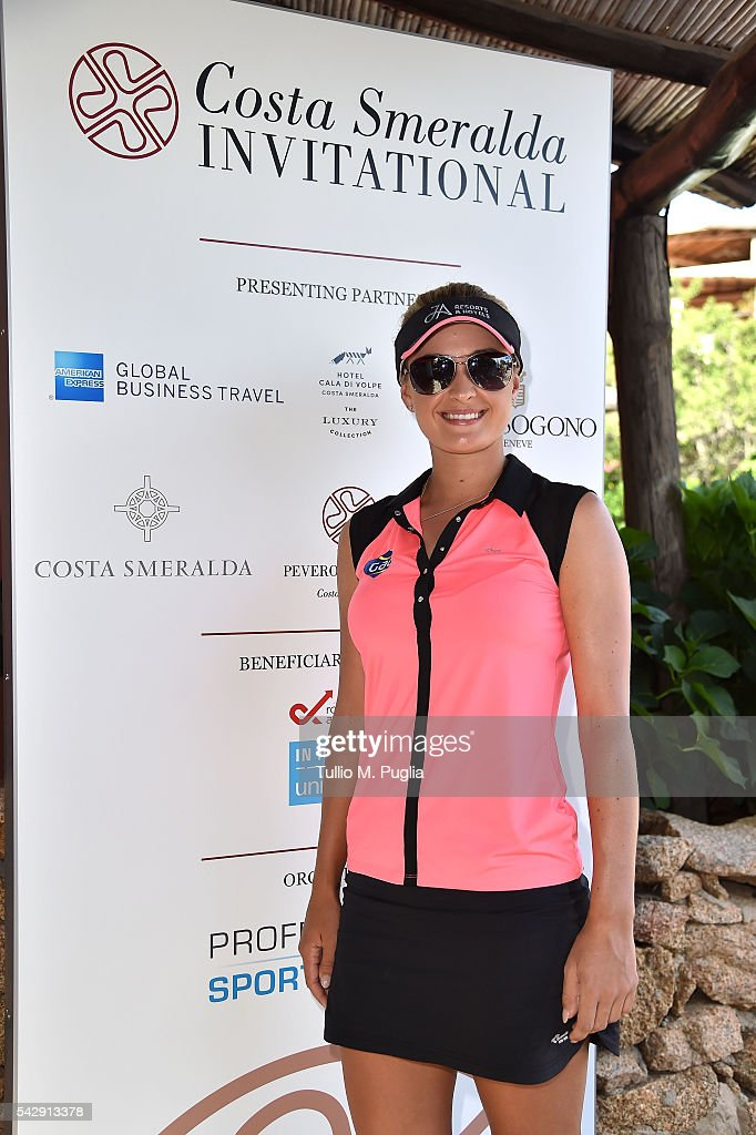 Amy Boulden arrives at The Costa Smeralda Invitational golf tournament at Pevero Golf Club - Costa Smeralda on June 25, 2016 in Olbia, Italy.
