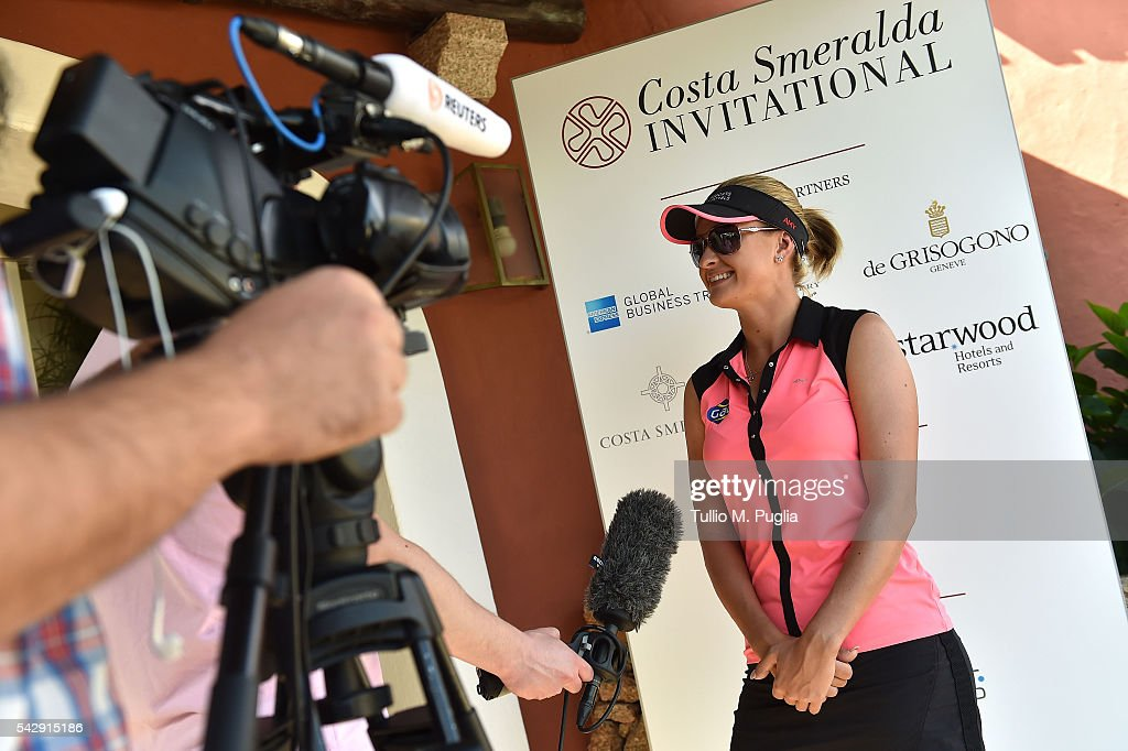 Amy Boulden gives an interview prior to The Costa Smeralda Invitational golf tournament at Pevero Golf Club - Costa Smeralda on June 25, 2016 in Olbia, Italy.
