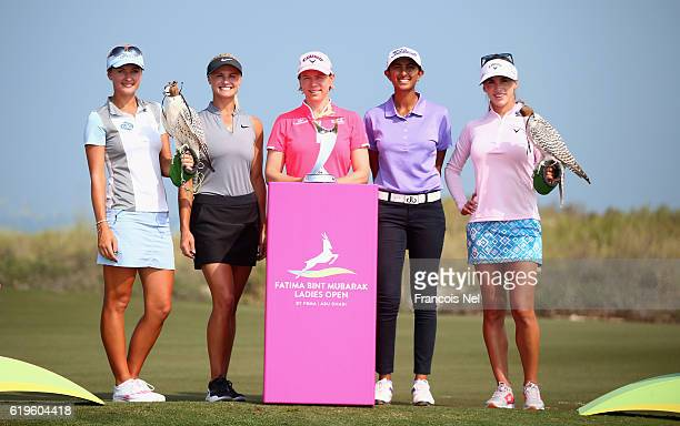 Amy Boulden of Wales Carly Booth of Scotland Annika Sörenstam of Sweden Aditi Ashok of India and Belen Mozo of Spain pose for a picture ahead of the...