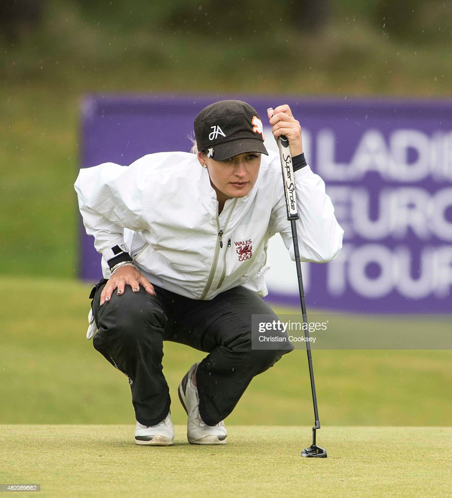 Amy Boulden of Wales lines up a putt on the 16th green during the Aberdeen Asset Management Scottish Ladies Open at Dundonald Links Golf Course on July 26, 2015 in Troon, Scotland.