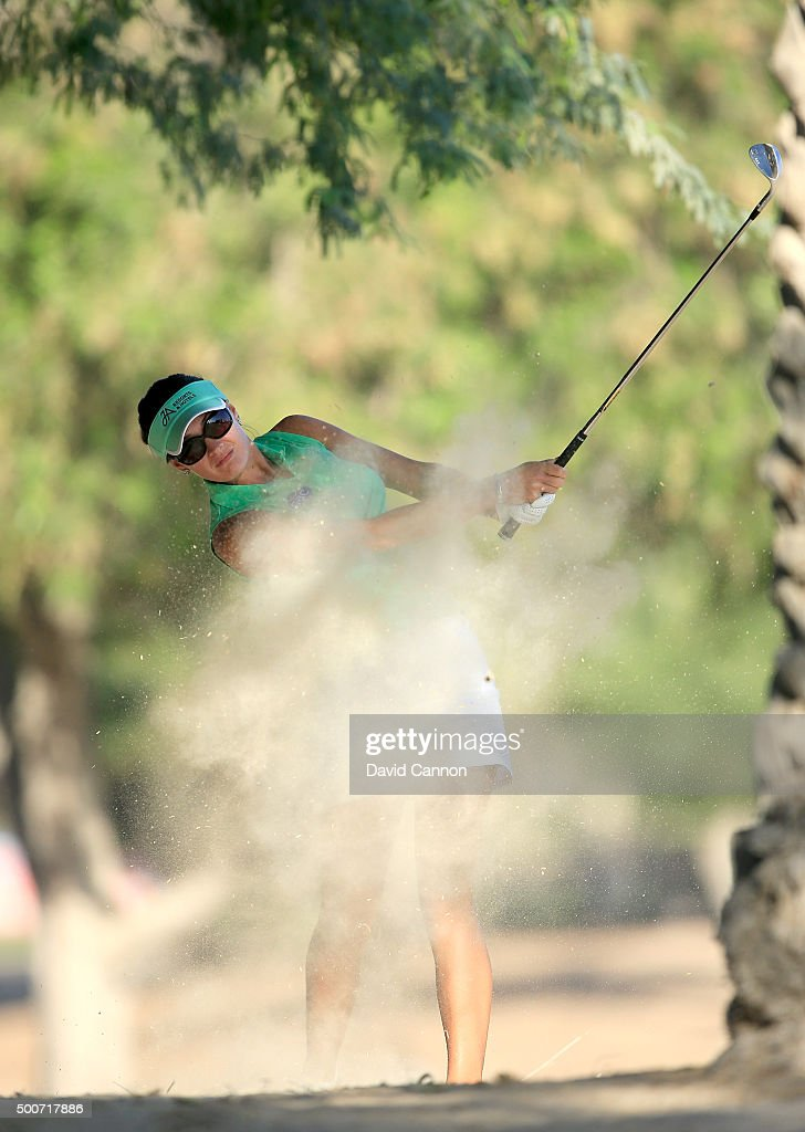 Amy Boulden of Wales plays her fourth shot on the par 5 10th hole during the second round of the 2015 Omega Dubai Ladies Masters on the Majlis Course...