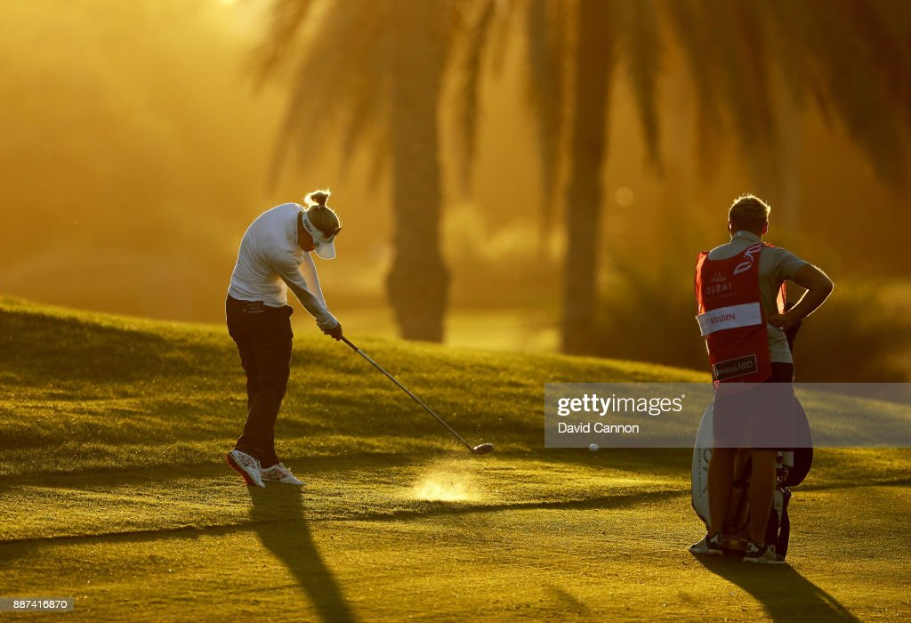 Amy Boulden of Wales plays her second shot on the par 5, 10th hole during the second round of the 2017 Dubai Ladies Classic on the Majlis Course at The Emirates Golf Club, on December 7, 2017 in Dubai, United Arab Emirates.