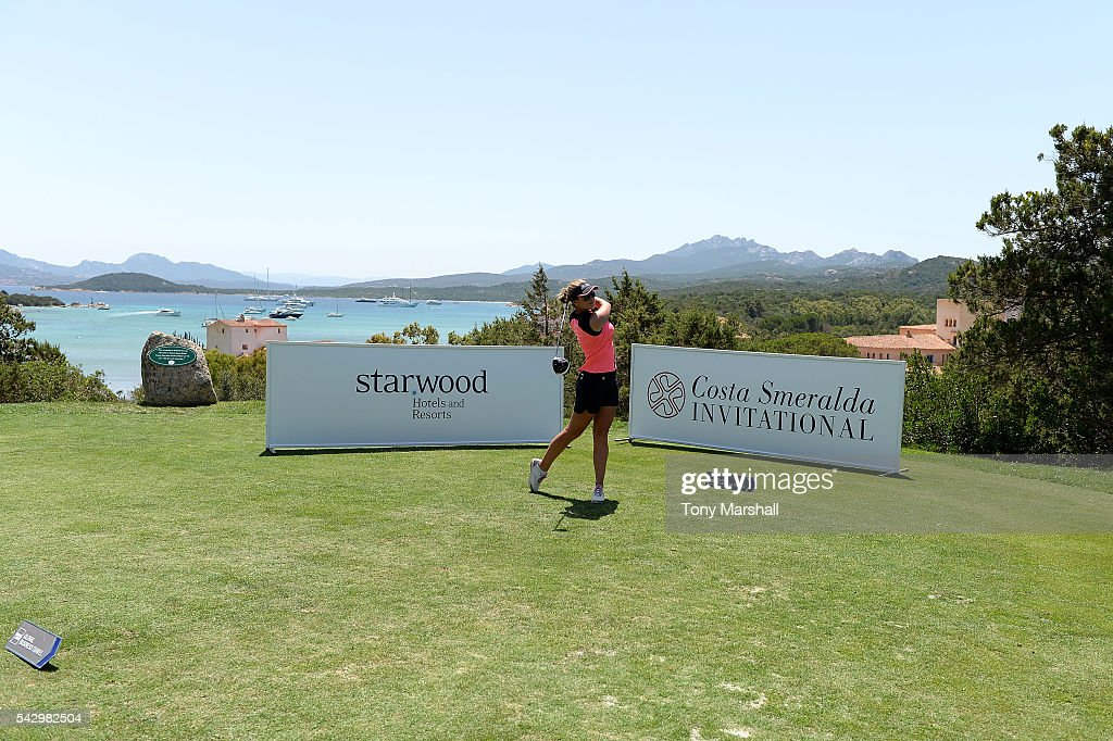 Amy Boulden tees off during The Costa Smeralda Invitational golf tournament at Pevero Golf Club - Costa Smeralda on June 25, 2016 in Olbia, Italy.