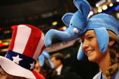 3 Amy Buff d wears an elephant hat on day three of the Republican National Convention at the Xcel Energy Center on September 3 2008 in St Paul...