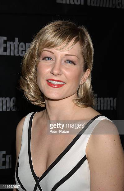 Amy Carlson in Nicole MIller dress during Entertainment Weekly Oscar Viewing Party at Elaine's Restaurant in New York NY United States