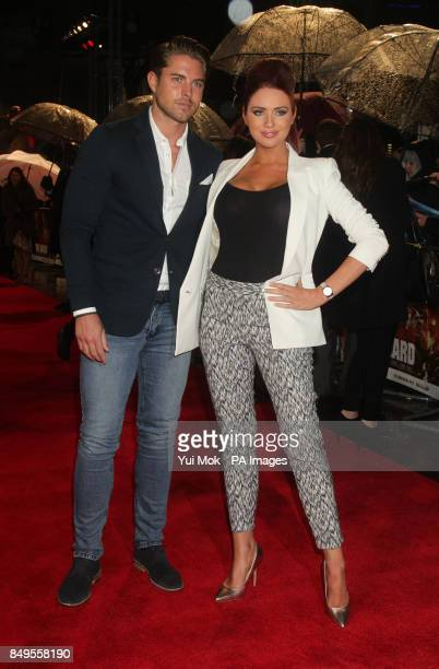 Amy Childs and David Peters arriving for the UK film premiere of A Good Day To Die Hard at the Empire Leicester Square in central London