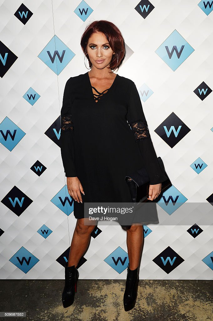 Amy Childs attends a celebration of the new TV channel 'W,' launching on Monday 15th February, at Union Street Cafe on February 11, 2016 in London, England.