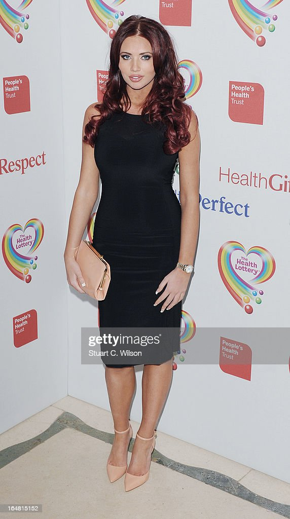 Amy Childs attends a fundraising event in aid of The Health Lottery hosted by Simon Cowell at Claridges Hotel on March 28, 2013 in London, England.