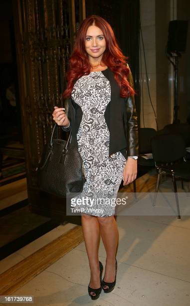 Amy Childs attends the Apu Jan show during London Fashion Week Fall/Winter 2013/14 at Freemasons Hall on February 15 2013 in London England