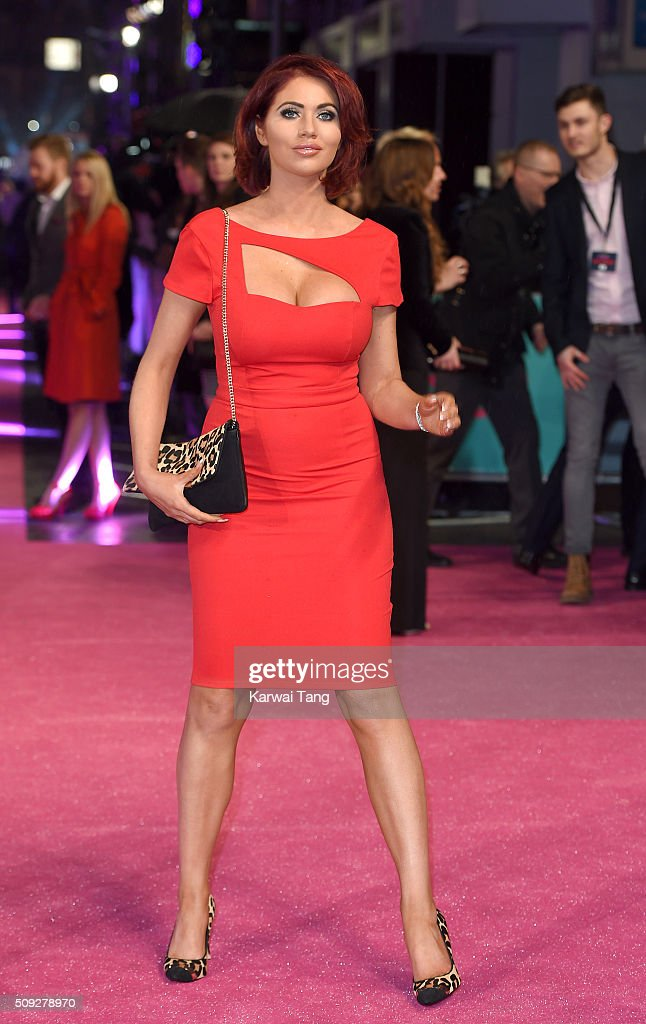 Amy Childs attends the European Premiere of 'How To Be Single' at the Vue West End on February 9, 2016 in London, United Kingdom.