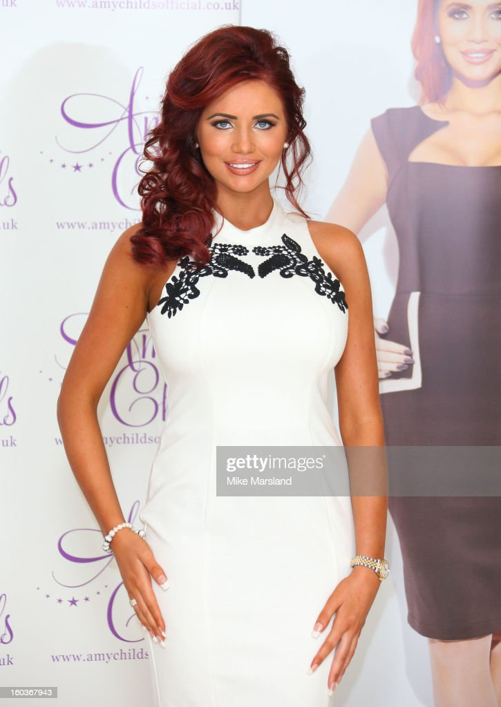 Amy Childs attends the launch of her new fashion collection at The Millenium Hotel Mayfair on January 30, 2013 in London, England.