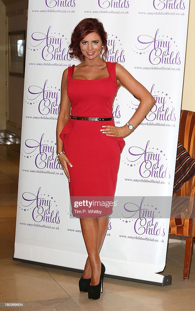 Amy Childs attends the launch of her new fashion collection at The Millennium Hotel Mayfair on January 30, 2013 in London, England.