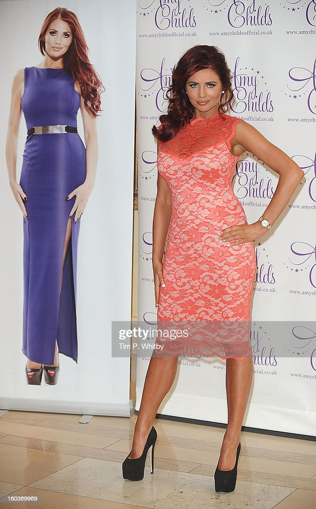 Amy Childs attends the launch of her new fashion collection>> at The Millenium Hotel Mayfair on January 30, 2013 in London, England.