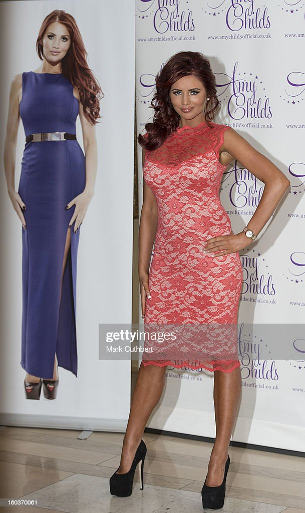 <a gi-track='captionPersonalityLinkClicked' href=/galleries/search?phrase=Amy+Childs&family=editorial&specificpeople=7306054 ng-click='$event.stopPropagation()'>Amy Childs</a> attends the launch of her new fashion collection at The Millennium Hotel Mayfair on January 30, 2013 in London, England.