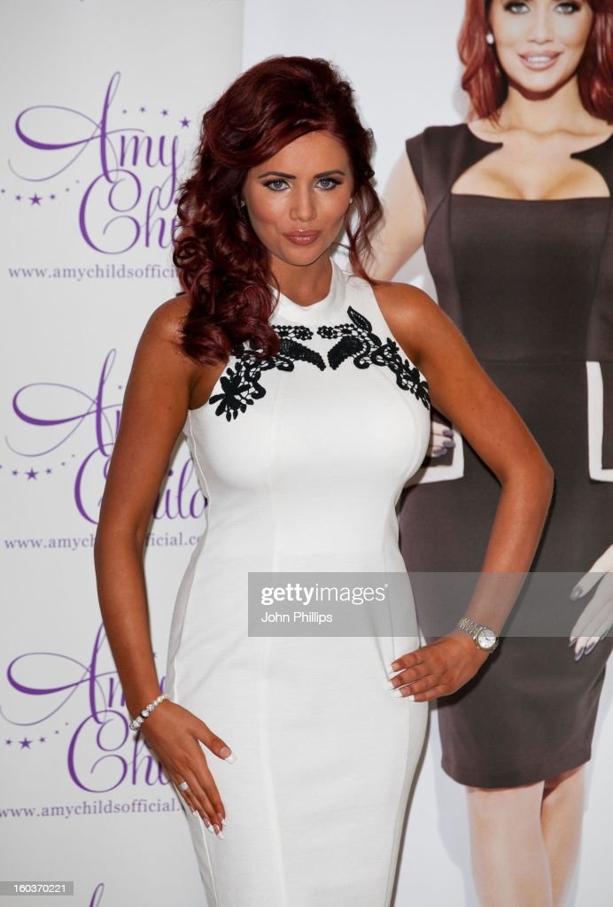 <a gi-track='captionPersonalityLinkClicked' href=/galleries/search?phrase=Amy+Childs&family=editorial&specificpeople=7306054 ng-click='$event.stopPropagation()'>Amy Childs</a> attends the launch of her new fashion collection at The Millenium Hotel Mayfair on January 30, 2013 in London, England.