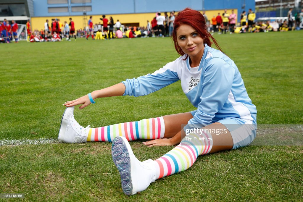 Amy Childs during the annual celebrity Soccer Six event at Mile End Stadium on August 31 2014 in London England
