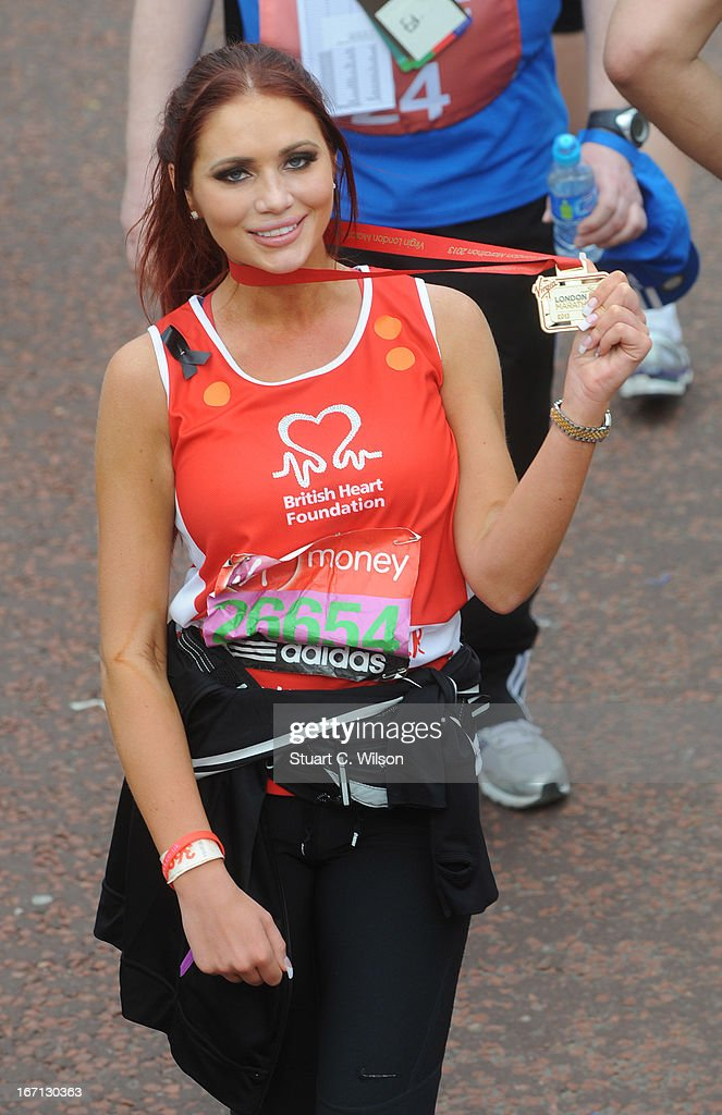 Amy Childs finishes the 2013 Virgin London Marathon on April 21, 2013 in London, England.