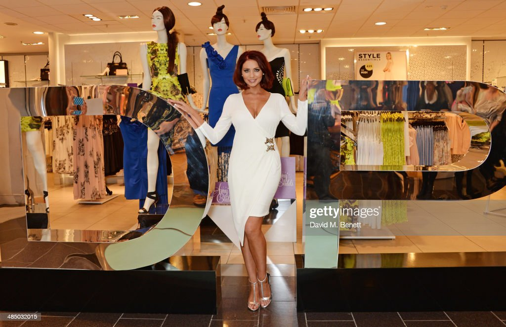 Amy Childs poses at the launch of the Amy Childs Collection at Dorothy Perkins on April 16 2014 in London England
