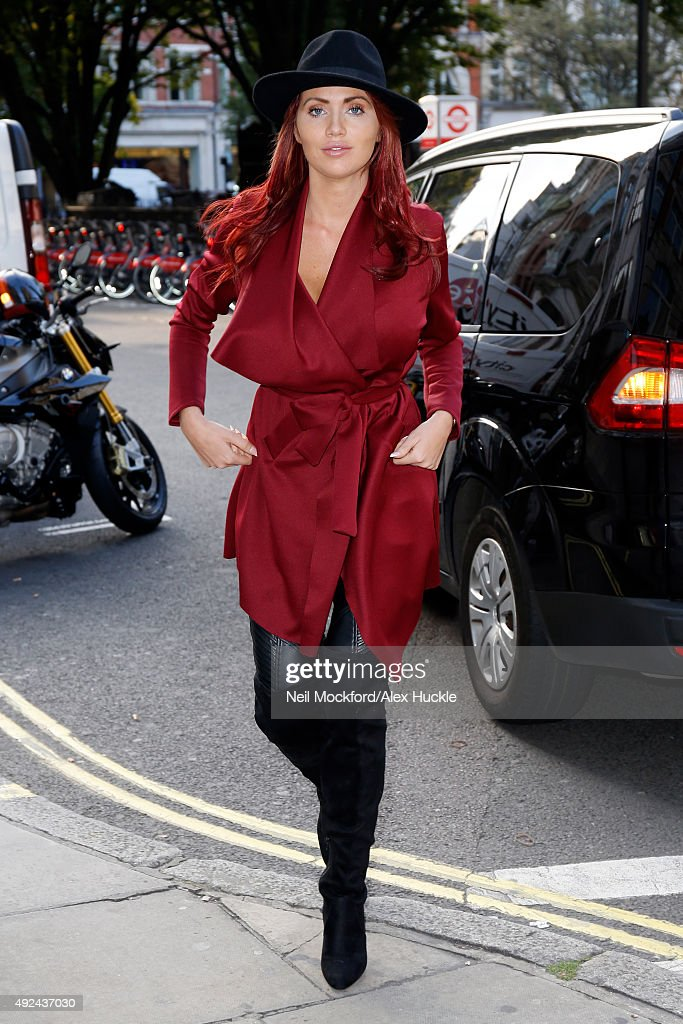 Amy Childs seen arriving at the Kiss FM Radio Studios in London on October 13 2015 in London England Photo by Neil Mockford/Alex Huckle/GC Images