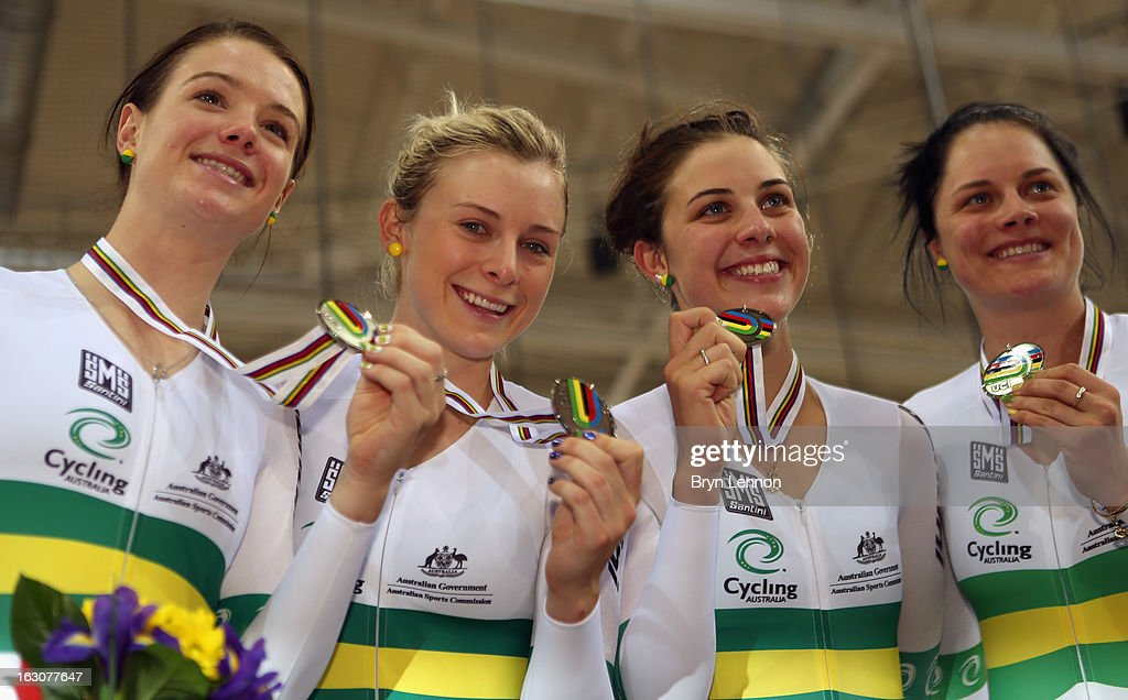 Amy Cure, Annette Edmonson, Melissa Hoskins, Ashlee Ankudinoff of Australia pose with their medals during day two of the UCI Track World Championships at the Minsk Arena on February 21, 2013 in Minsk, Belarus.