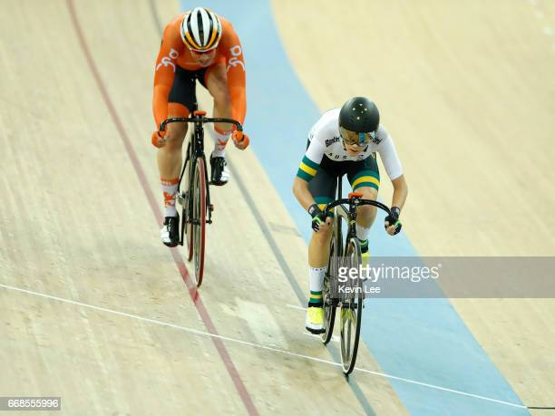 Amy Cure of Australia leads Kirsten Wild of the Netherlands pass the finish line at Women's Omnium Elimination Race 34 on Day 3 in 2017 UCI Track...