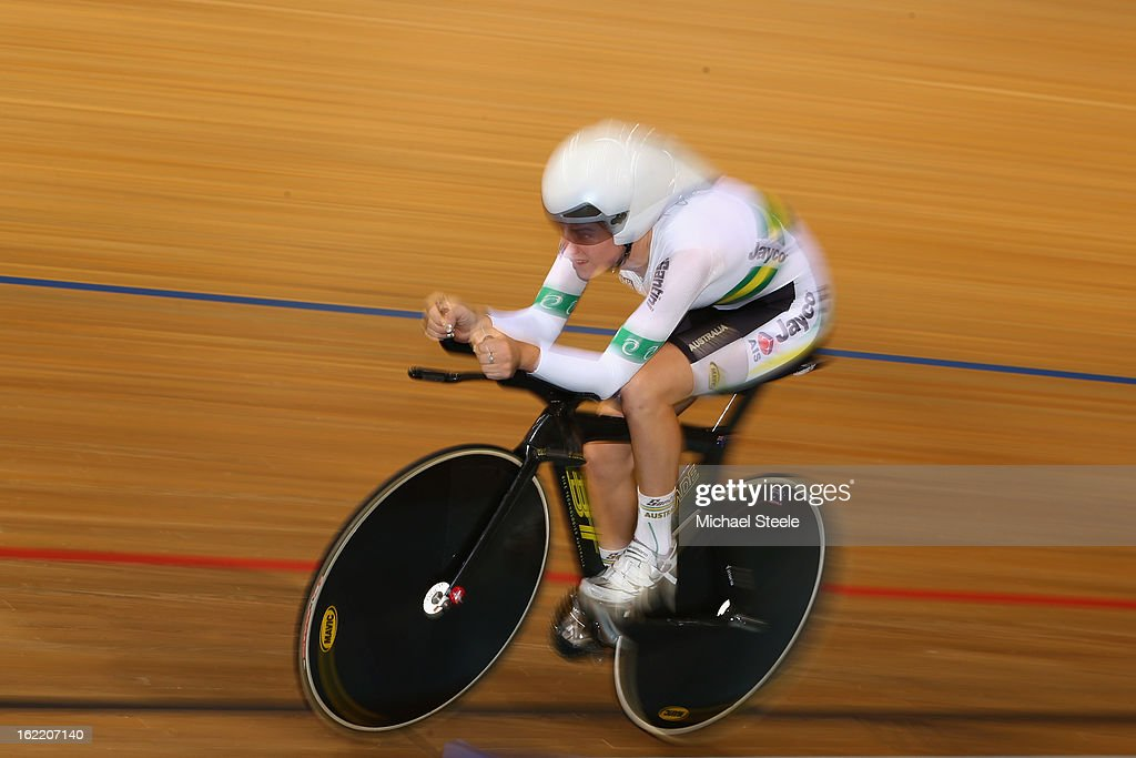 Amy Cure of Australia on her way to silver in the women's individual pursuit during day one of the UCI Track World Championships at Minsk Arena on February 20, 2013 in Minsk, Belarus.