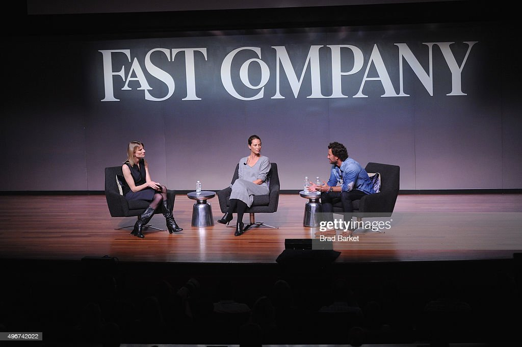 Amy Farley, Christy Turlington Burns and Blake Mycoskie appear during The Fast Company Innovation Festival presentation of 'The Creativity Of Giving: TOMS Founder Blake Mycoskie and Social Entrepreneur Christy Turlington Burns On How Giving Makes For Better Business' on November 11, 2015 in New York City.