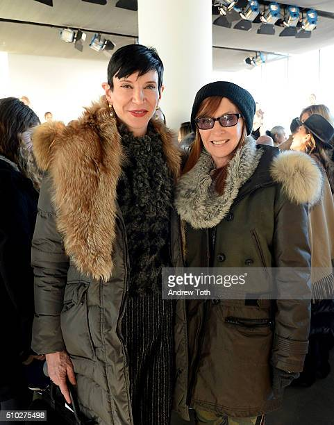 Amy Fine Collins and designer Nicole Miller attend Brooks Brothers F/W 2016 Presentation With Zac Posen on February 14 2016 in New York City