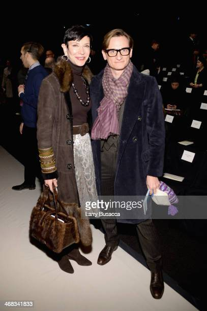 Amy Fine Collins and Hamish Bowles attend the Carolina Herrera fashion show during MercedesBenz Fashion Week Fall 2014 at The Theatre at Lincoln...