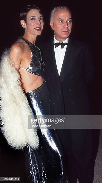 Amy Fine Collins and Manolo Blahnik at art preview Sotheby's New York New York 1990s