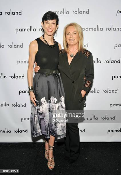 Amy Fine Collins and Pamella Roland pose backstage at the pamella roland Spring 2014 fashion show during MercedesBenz Fashion Week on September 9...