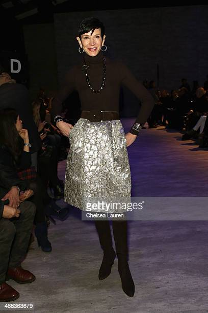 Amy Fine Collins attends the Angel Sanchez fashion show during MercedesBenz Fashion Week Fall 2014 at The Pavilion at Lincoln Center on February 10...