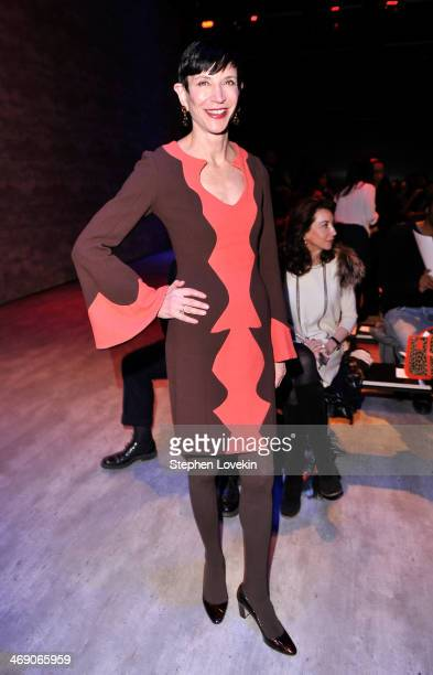 Amy Fine Collins attends the B Michael America fashion show during MercedesBenz Fashion Week Fall 2014 at The Pavilion at Lincoln Center on February...