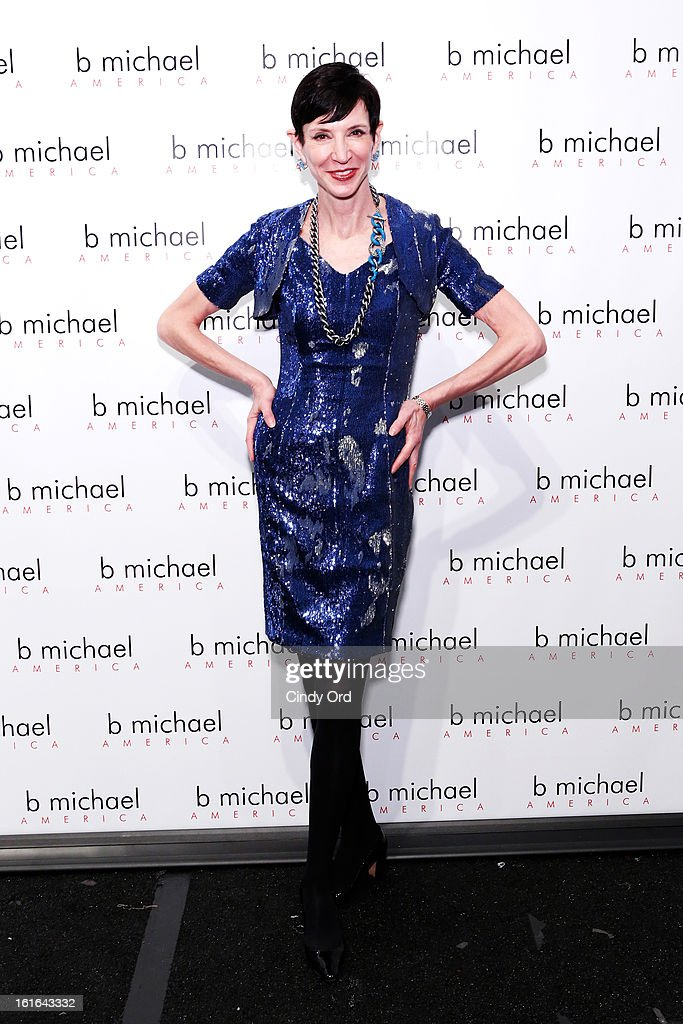<a gi-track='captionPersonalityLinkClicked' href=/galleries/search?phrase=Amy+Fine+Collins&family=editorial&specificpeople=241319 ng-click='$event.stopPropagation()'>Amy Fine Collins</a> backstage at the B Michael America Fall 2013 fashion show during Mercedes-Benz Fashion Week at The Studio at Lincoln Center on February 13, 2013 in New York City.