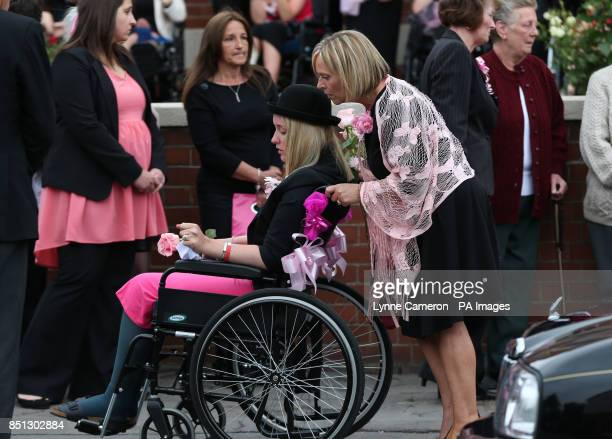 Amy Firth attends the funeral of her sister Beth Jones who died in a crash on the M62 as she headed to a hen party at St Joseph's church in South...