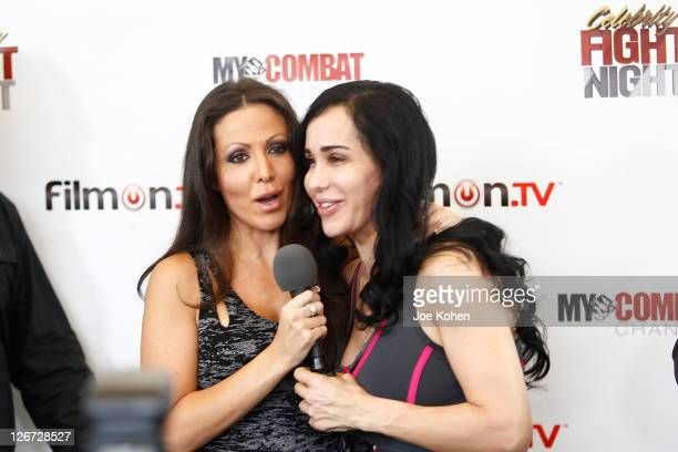 Amy Fisher and Nadya 'Octomom' Suleman attend Celebrity Fight Night Official Press Conference on September 26 2011 in Beverly Hills California