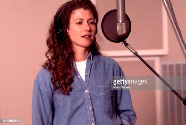 Amy Grant recording her vocal part before a video shoot for the song Amazing Grace for the soundtrack of the film 'Maverick' at her farm in...