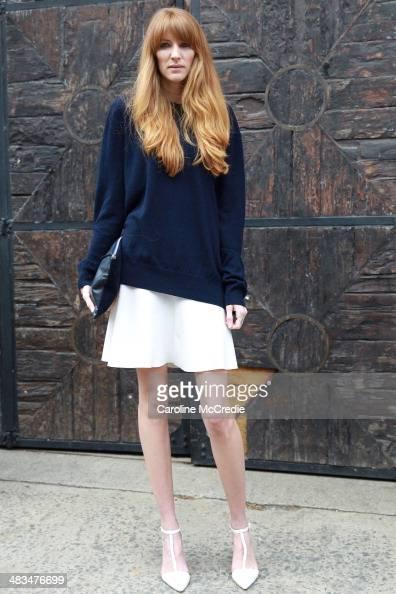 Amy Hamilton wearing a skirt by Zara Basic jumper Zara shoes attends the Dion Lee show during MercedesBenz Fashion Week Australia 2014 at 7 Danks...