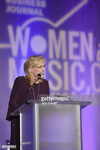 Amy Harris Director of Advertising of Nashville Business Journal Women in Music City speaks onstage at the 2017 Nashville Business Journal Women In...