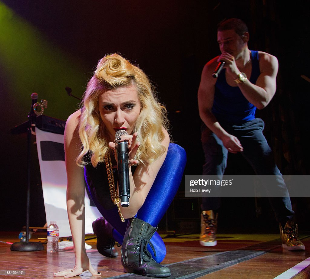 Amy Heidemann and Nicholas Noonan of Karmin perform at House Of Blues on April 8 2014 in Houston Texas