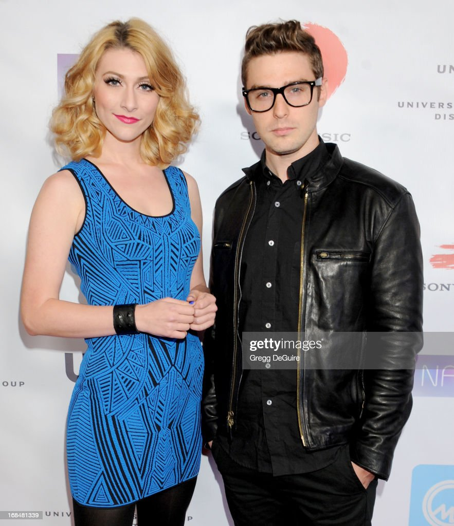Amy Heidemann and Nick Louis Noonan of Karmin arrive at the NARM Music Biz Awards dinner party at the Hyatt Regency Century Plaza on May 9, 2013 in Century City, California.