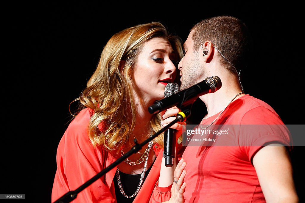 Amy Heidemann and Nick Noonan of Karmin attends 2014 WZPL Birthday Bash at Indiana State Fairgrounds on June 13 2014 in Indianapolis Indiana