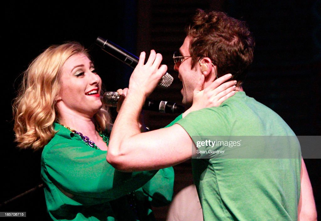 Amy Heidemann and Nick Noonan (R) of Karmin perform during the Music Choice Heads Back To School In New Orleans at the House of Blues on October 23, 2013 in New Orleans, Louisiana.